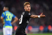 Neymar of Paris Saint-Germain reacts during the Group C match of the UEFA Champions League between Paris Saint-Germain and SSC Napoli at Parc des Princes on October 24, 2018 in Paris, France.