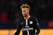 Neymar of Paris Saint-Germain in action during the Group C match of the UEFA Champions League between Paris Saint-Germain and SSC Napoli at Parc des Princes on October 24, 2018 in Paris, France.