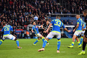 Angel Di Maria of Paris Saint-Germain scores his team's second goal during the Group C match of the UEFA Champions League between Paris Saint-Germain and SSC Napoli at Parc des Princes on October 24, 2018 in Paris, France.