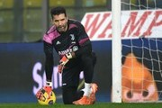 PARMA, ITALY - DECEMBER 19; Gianluigi Buffon of Juventus  in action during the Serie A match between Parma Calcio and Juventus at Stadio Ennio Tardini on December 19, 2020 in Parma, Italy. Sporting stadiums around Italy  remain under strict restrictions due to the Coronavirus Pandemic as Government social distancing laws prohibit fans inside venues resulting in games being played behind closed doors.