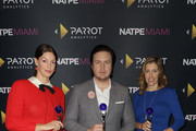 """Pollyanna McIntosh, Josh McDermitt and Denise Huth receive the 2018 Global TV Demand Award Most In-Demand TV Series for the""""The Walking Dead"""" at the Parrot Analytics Presents The Global TV Demand Awards at Fontainebleau Hotel on January 22, 2019 in Miami Beach, Florida."""