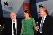 "(L-R) Director Brian de Palma with actress Noomi Rapace and composer Pino Donaggio attend the ""Passion"" Premiere during the 69th Venice Film Festival at the Palazzo del Casino on September 7, 2012 in Venice, Italy."