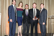 Tuc Watkins, Brenda Strong, Ken Mosesian, Stuart Bell and Don Hribek pose on stage at Path2Parenthood - Illuminations LA 2016 at The Four Seasons Hotel on April 15, 2016 in Beverly Hills, California.