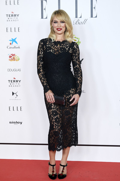 ELLE Charity Gala 2019 In Madrid [clothing,dress,red carpet,carpet,fashion model,fashion,cocktail dress,premiere,flooring,footwear,patricia conde,funds,cancer,elle charity gala,madrid,spain,intercontinental hotel]