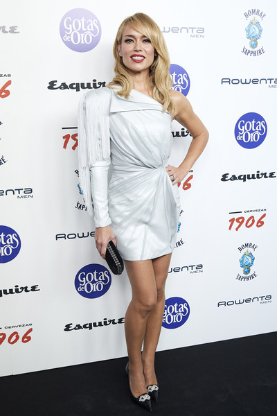 'Hombres Esquire' 2019 Awards [clothing,cocktail dress,white,dress,shoulder,cobalt blue,electric blue,hairstyle,joint,footwear,hombres esquire,patricia conde,2019 awards,hombres esquire 2019 awards at the kapital club on october,spain,madrid]