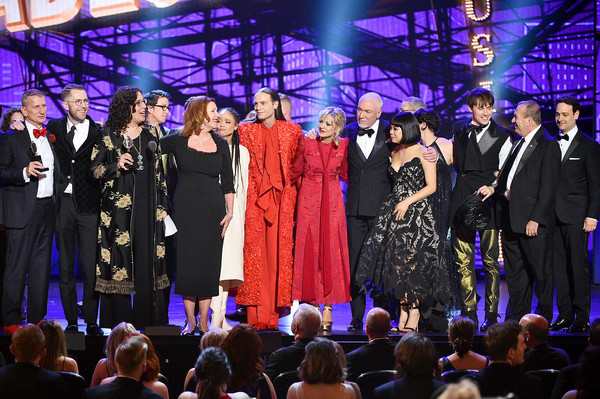73rd Annual Tony Awards - Show [best musical,event,performance,fashion,stage,public event,music,performing arts,crowd,audience,formal wear,crew,cast,award,new york city,radio city music hall,hadestown,tony awards,show]