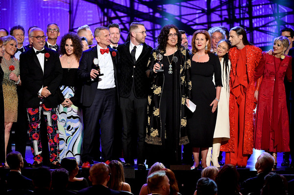 73rd Annual Tony Awards - Show [best musical,entertainment,performance,event,music,performing arts,stage,fashion,public event,choir,musical ensemble,crew,cast,award,new york city,radio city music hall,hadestown,tony awards,show]