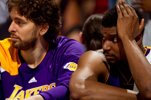 Pau Gasol and Andrew Bynum - Los Angeles Lakers v Denver Nuggets - Game Six