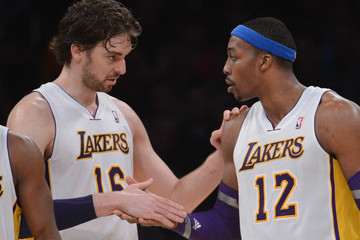 Pau Gasol Dwight Howard Oklahoma City Thunder v Los Angeles Lakers