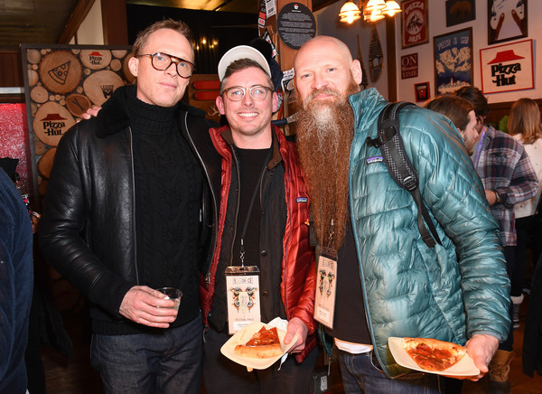 Pizza Hut x Legion M Lounge Park City, Utah [event,facial hair,beard,drink,legion m lounge park city,paul bettany,mark stafford of bastards road,brian morrison,uncle frank,utah,park city,pizza hut,sundance film festival,paul bettany,brian morrison,stock photography,photography,photograph,getty images,image,royalty-free,actor]