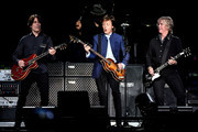 (L-R) Rusty Anderson, Paul McCartney and Brian Ray perform on Opening Night of the One On One Tour at Save Mart Center on April 13, 2016 in Fresno, California.