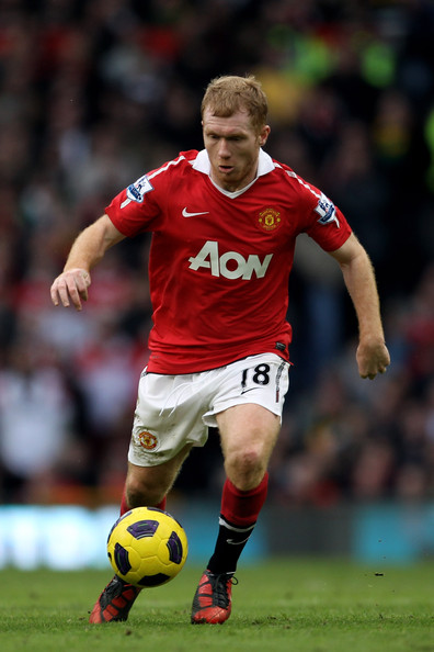 Paul Scholes Paul Scholes of Manchester United in action during the Barclays Premier League match between Manchester United and Manchester City at Old Trafford on February 12, 2011 in Manchester, England.