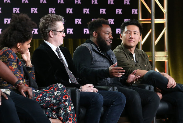 2018 Winter TCA Tour - Day 2 [television show,event,interaction,fun,performance,audience,sitting,conversation,paul simms,zazie beetz,hiro murai,stephen glover,producer,l-r,pasadena,winter tca,fx networks]