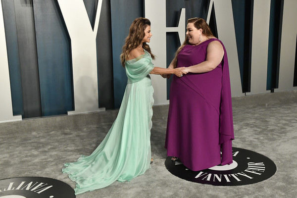 2020 Vanity Fair Oscar Party Hosted By Radhika Jones - Arrivals [gown,dress,formal wear,clothing,shoulder,purple,pink,lady,fashion,haute couture,radhika jones - arrivals,radhika jones,paula abdul,chrissy metz,beverly hills,california,wallis annenberg center for the performing arts,oscar party,vanity fair,paula abdul,united states,oscar party,billy porter,american idol,the x factor,vanity fair,photograph,image]