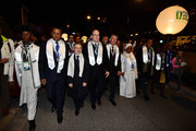 Delegates led by Prince Albert II of Monaco (c) walk from the Fairmont Hotel to the Grimaldi Forum as part of a Peace Walk ahead of the Peace & Sport International Forum on November 25, 2015 in Monaco, Monaco.