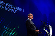 Prince Albert II of Monaco delivers a speech during the Opening Ceremony of the Peace & Sport International Forum on November 25, 2015 in Monaco, Monaco.