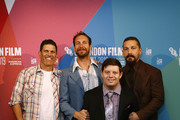 """(L-R)  Director Michael Schwartz, director Tyler Nilson, Actor Zack Gottsagen and Shia LeBeouf  attend """"The Peanut Butter Falcon"""" UK Premiere during 63rd BFI London Film Festival at the Embankment Gardens Cinema on October 03, 2019 in London, England."""