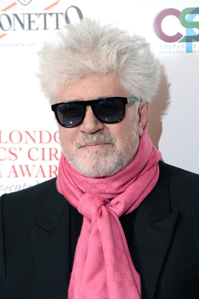 39th London Critics' Circle Choice Awards - Red Carpet Arrivals [eyewear,hair,pink,glasses,sunglasses,hairstyle,facial hair,chin,cool,moustache,red carpet arrivals,pedro almodovar,london,england,the may fair hotel,london critics circle choice awards]
