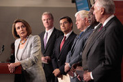 """House Democratic leaders, (L-R) Minority Leader Nancy Pelosi (D-CA), House Budget Committee ranking member Rep. Chris Van Hollen (D-MD), Democratic Caucus Vice Chair Rep. Xavier Becerra (D-CA), House Democratic Caucus Chairman Rep. John Larson (D-CT), Assistant Leader Rep. James Clyburn (D-SC) and  Minority Whip Steny Hoyer (D-MD) hold a news conference at the U.S. Captiol September 6, 2011 in Washington, DC. Van Hollen, Becerra and Clyburn have been tapped by Pelosi to be members of the Joint Fedreal Deficit Committee, or """"deficit supercommittee."""""""