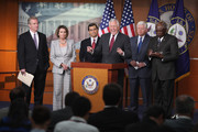 """House Democratic leaders (L-R) House Budget Committee ranking member Rep. Chris Van Hollen (D-MD), Minority Leader Nancy Pelosi (D-CA), Democratic Caucus Vice Chair Rep. Xavier Becerra (D-CA), Minority Whip Steny Hoyer (D-MD), House Democratic Caucus Chairman Rep. John Larson (D-CT) and Assistant Leader Rep. James Clyburn (D-SC) hold a news conference at the U.S. Captiol September 6, 2011 in Washington, DC. Van Hollen, Becerra and Clyburn have been tapped by Pelosi to be members of the Joint Fedreal Deficit Committee, or """"deficit supercommittee."""""""