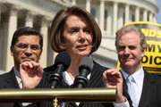 U.S. House Minority Leader Rep. Nancy Pelosi (D-CA) (C) speaks as Rep. Xavier Becerra (D-CA) (L) and Rep. Chris Van Hollen (D-MD) listen during a news conference April 15, 2011 on Capitol Hill in Washington, DC.  House Democrats called on the Republicans not to end Medicare.