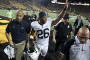 IOWA CITY, IOWA- SEPTEMBER 23:  Head coach James Franklin of the Penn State Nittany Lions walks off the field with running back Saquon Barkley #26 after defeating the Iowa Hawkeyes on September 23, 2017 at Kinnick Stadium in Iowa City, Iowa.