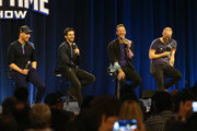 (L-R) Musicians Jonny Buckland, Guy Berryman, Chris Martin and Will Champion of Coldplay speak onstage at the Pepsi Super Bowl Halftime Press Conferenceon February 4, 2016 in San Francisco, California.