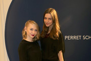 Anna Maria Muehe (L) and Susan Hoecke attend the Perret Schaad Show during the Mercedes-Benz Fashion Week Berlin Autumn/Winter 2015/16 at Kronprinzenpalais on January 21, 2015 in Berlin, Germany.