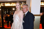 """Gwendoline Christie and Giles Deacon attend """"The Personal History Of David Copperfield"""" European Premiere & Opening Night Gala during the 63rd BFI London Film Festival at the Odeon Luxe Leicester Square on October 02, 2019 in London, England."""