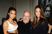 (L-R) Model Irina Shayk, photographer Peter Lindbergh, and model Nadejda Savcova  attend the Peter Lindbergh exhibition at Vladimir Restoin Roitfeld Gallery on September 7, 2013 in New York City.