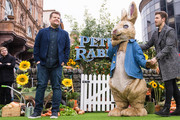 "James Corden (L) attends the UK Gala Screening of ""Peter Rabbit"" at the Vue West End on March 11, 2018 in London, England."