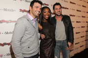 Dancer Tony Dovolani, Singer Brandy and Dancer Maksim Chmerkovskiy arrive at the Peter Travers and Editors of Rolling Stone Host Awards Weekend Bash at Drai's Hollywood on February 26, 2011 in Hollywood, California.