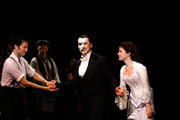 """Kyle Barisich, Hugh Panaro and Sierra Boggess attend """"The Phantom Of The Opera"""" Broadway 25th Anniversary at Majestic Theatre on January 26, 2013 in New York, New York."""