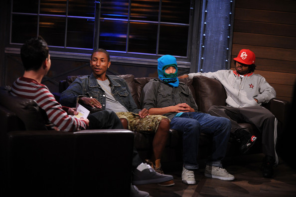 "Pharrell Williams (L-R) Musician and host Mark Hoppus and recording artists Pharrell Williams, Chad Hugo and Shay Haley of the group N.E.R.D. visits ""A Different Spin With Mark Hoppus"" at the fuse Studios on September 28, 2010 in New York City."
