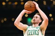 Gordon Hayward #20 of the Boston Celtics shoots the ball during a game against the Philadelphia 76ers at TD Garden on October 16, 2018 in Boston, Massachusetts. NOTE TO USER: User expressly acknowledges and agrees that, by downloading and or using this photograph, User is consenting to the terms and conditions of the Getty Images License Agreement.