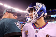 Carson Wentz #11 of the Philadelphia Eagles and Eli Manning #10 of the New York Giants talk after the game on October 11,2018 at MetLife Stadium in East Rutherford, New Jersey.
