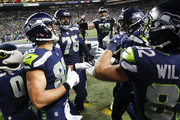 Tight end Jimmy Graham #88 of the Seattle Seahawks celebrates his touchdown with teammates in the first quarter against the Philadelphia Eagles at CenturyLink Field on December 3, 2017 in Seattle, Washington.