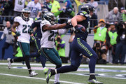 Tight end Jimmy Graham #88 of the Seattle Seahawks takes it in a for touchdown against the Philadelphia Eagles at CenturyLink Field on November 20, 2016 in Seattle, Washington.