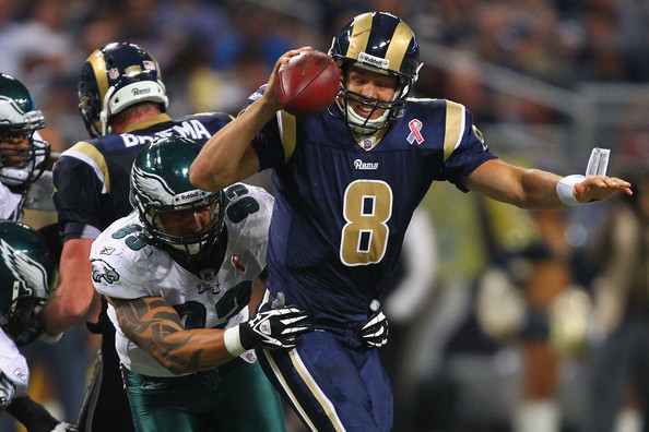 Jason Babin comes clean and drops Sam Bradford. Photo by Dilip Vishwanat/Getty Images