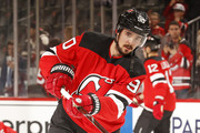 Marcus Johansson #90 of the New Jersey Devils during warm ups prior to taking on the Philadelphia Flyers at the Prudential Center on January 13, 2018 in Newark, New Jersey.