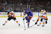 Michael Grabner #40 of the New York Rangers scores at 10:48 of the second period against the Philadelphia Flyers at Madison Square Garden on January 16, 2018 in New York City.