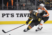 Max Pacioretty #67 of the Vegas Golden Knights skates with the puck under pressure from Andrew MacDonald #47 of the Philadelphia Flyers in the second period of their game at T-Mobile Arena on October 04, 2018 in Las Vegas, Nevada.