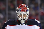 Goalie Sergei Bobrovsky #72 of the Columbus Blue Jackets looks on against the Washington Capitals during the second period at Capital One Arena on February 9, 2018 in Washington, DC.