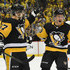 Sidney Crosby Jake Guentzel Photos - Sidney Crosby #87 of the Pittsburgh Penguins celebrates with Jake Guentzel #59 after scoring a goal in the second period in Game One of the Eastern Conference First Round during the 2018 NHL Stanley Cup Playoffs against the Philadelphia Flyers at PPG PAINTS Arena on April 11, 2018 in Pittsburgh, Pennsylvania. (Photo by Justin Berl/Getty Images) <i></i>* Local Caption <i></i>* Sidney Crosby; Jake Guentzel - Philadelphia Flyers vs. Pittsburgh Penguins - Game One