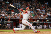 Andres Blanco #4 of the Philadelphia Phillies hits a two-run single against the Arizona Diamondbacks during the eighth inning of the MLB game at Chase Field on June 29, 2016 in Phoenix, Arizona.