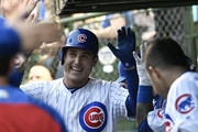 Anthony Rizzo #44 of the Chicago Cubs is greeted by his teammates after hitting a home run against the Philadelphia Phillies during the second inning on June 6, 2018 at Wrigley Field in Chicago, Illinois.