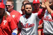 Andres Blanco #4 of the Philadelphia Phillies celebrates in the dugout after scoring after stealing home during the second inning of the inter-league game against the Detroit Tigers on May 25, 2016 at Comerica Park in Detroit, Michigan.