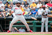 Andres Blanco #4 of the Philadelphia Phillies reacts after almost being hit by a pitch in the third inning during the game against the Pittsburgh Pirates at PNC Park on July 24, 2016 in Pittsburgh, Pennsylvania.