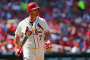 Matt Holliday #7 of the St. Louis Cardinals yells at the first base umpire after being called out on a check swing in the fourth inning against the Philadelphia Phillies at Busch Stadium on June 21, 2014 in St. Louis, Missouri.