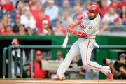 Andres Blanco #4 of the Philadelphia Phillies hits a two-run home run in the first inning against the Washington Nationals at Nationals Park on April 26, 2016 in Washington, DC.
